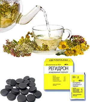 Травяной чай, активированный уголь и Регидрон для очищения от токсинов дома