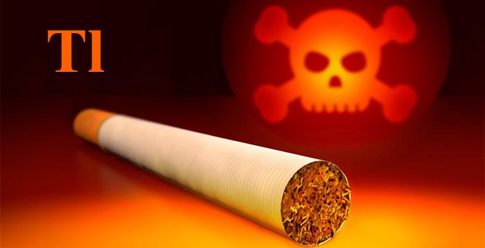 сигарета на фоне формулы таллия