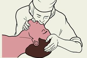 врач восстанавливает пострадавшему дыхание