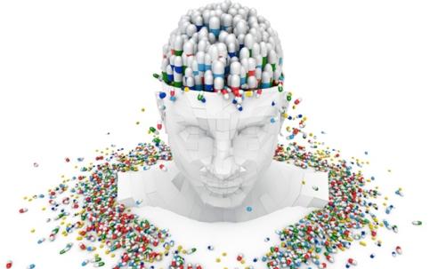 рисунок человека в окружении таблеток