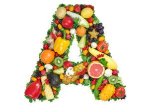 овощи и фрукты, выложенные в форме буквы А