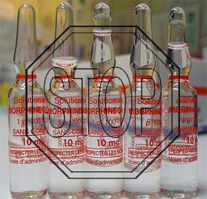 ампулы морфина и знак stop