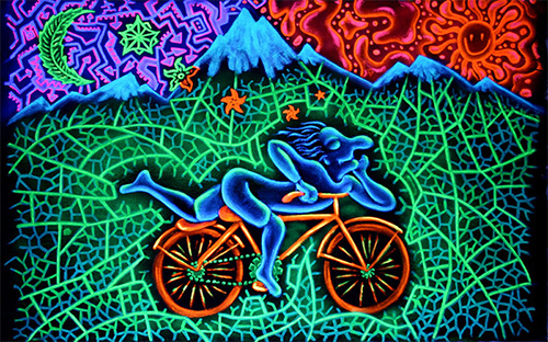 рисунок — Альберт Хофманн едет на велосипеде под ЛСД