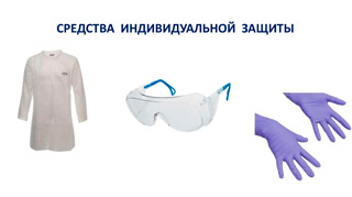 средства индивидуальной защиты — костюм, перчатки, очки