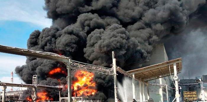 пожар и большая задымленность продуктами горения